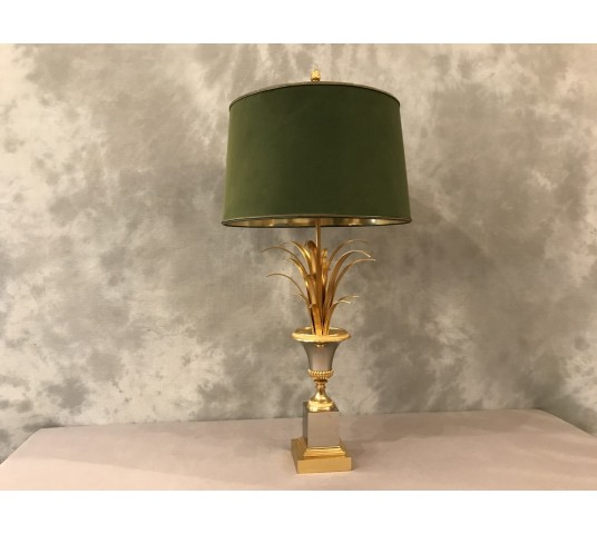 Lamp Charles of the 1970's in gilded brass steel silver color