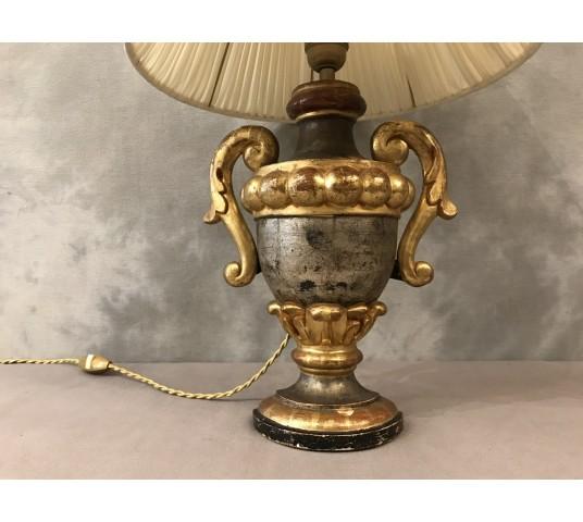 Lampe en bois doré et argent vers 1950