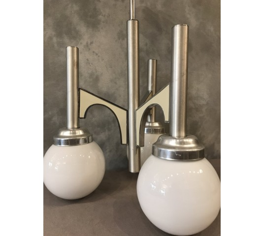 3 Light Lustre in stainless steel brushed around 1970