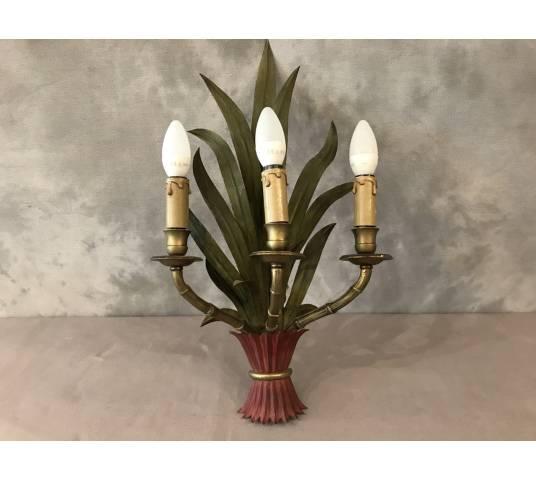 Applique en fer peint Baguès aux bambous