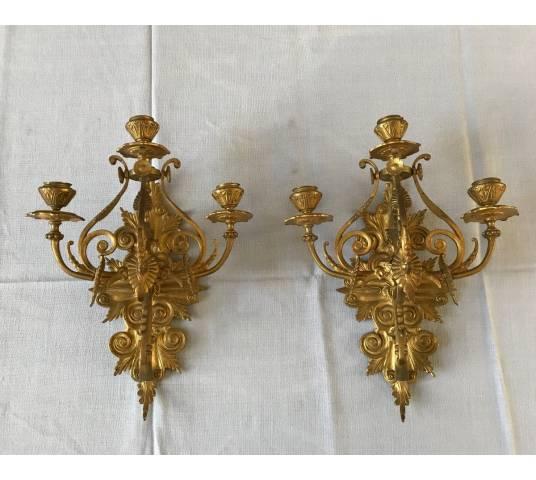 Paire d'appliques en bronze doré de style Néogothique d'époque 19 ème
