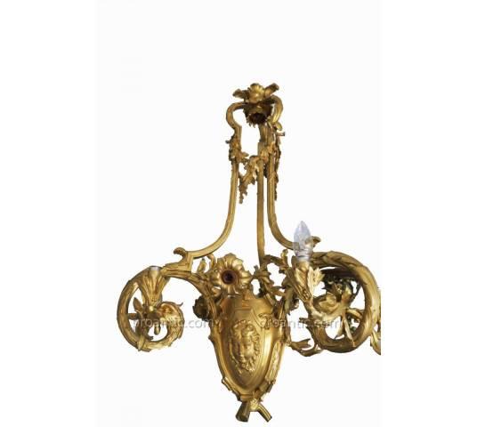 Magnifique grand lustre en bronze doré d'époque 19 ème