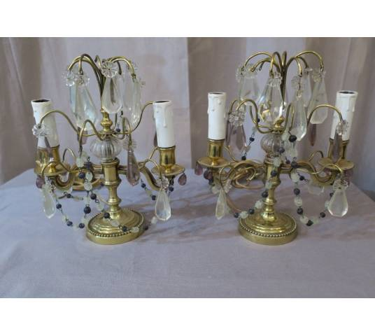 Pair of brass and vintage crystals 19 th