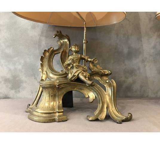 Pair of chenets in gilded bronze mounted in vintage lamp 19 th