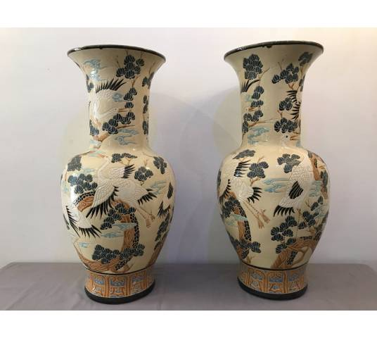 Pair of large Chinese decorative vases