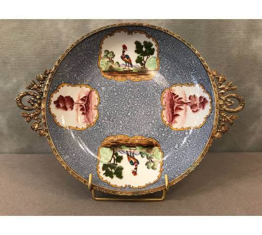 Cut plate in porcelain with vintage brass mount 19 th
