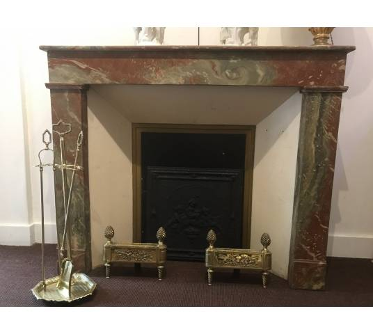 Decor of wood chimney in a fake vintage marble 19th century