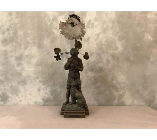 Lampe ancienne en régule vers 1900 ( signée ROUSSEAU)