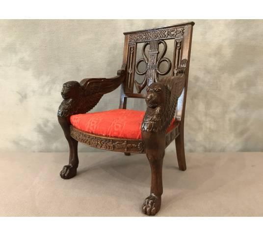 Small miniature style mahogany seat