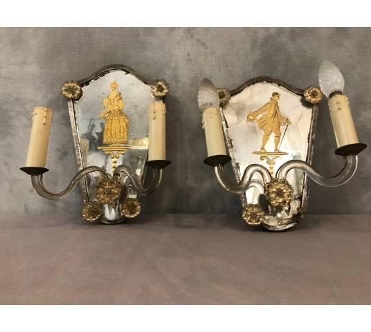 Pair d' appliques en verre de Venise décor de Characters Italians circa 1900