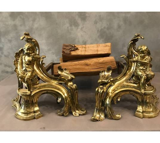Beautiful and important pair of polished bronze channels at the beginning 19 th