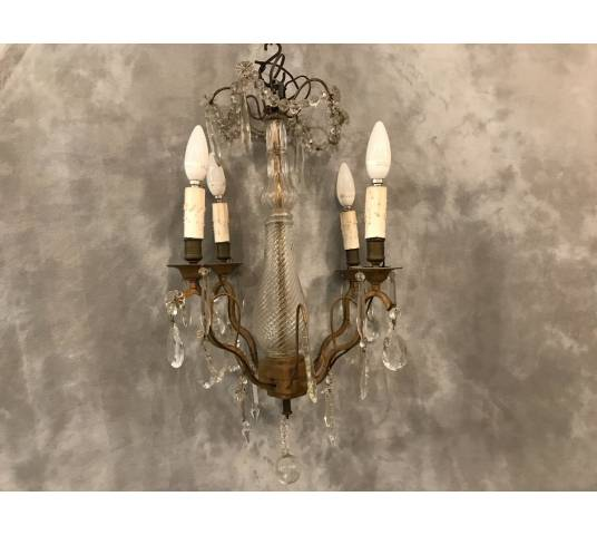 Small crystal chandelier with 4 light periods 19 th