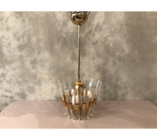 Beau lustre Scoliari vers 1970 en laiton et cristal