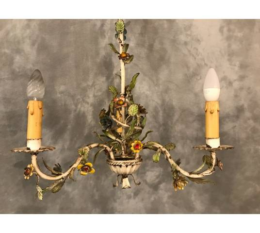 Small former iron chandelier painted with small flowers, circa 1900