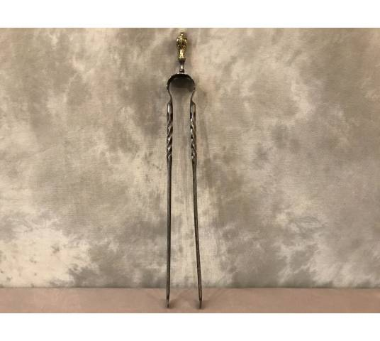 Ancient iron fireplace clip and period bronze 19 th