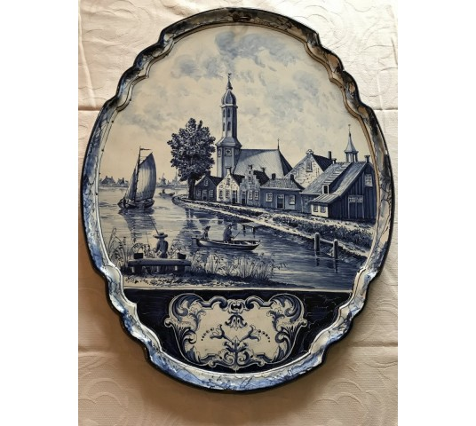 Beautiful large decorative plate in earthenware of epoch 19th painting