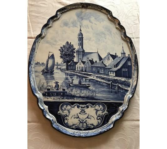 Belle grande plaque décorative en faïence de Delft d'époque 19ème tableau