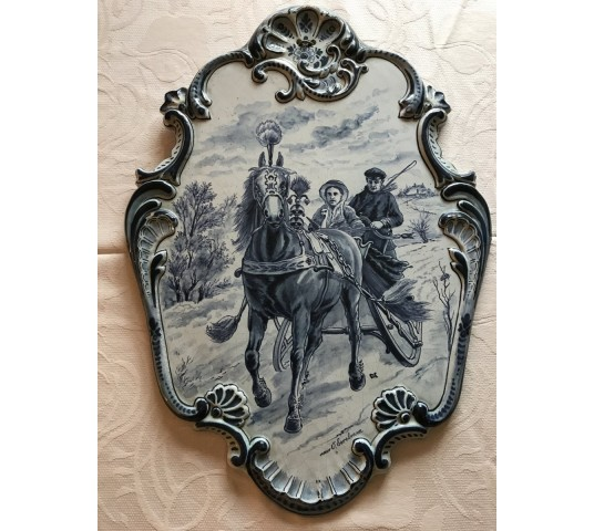 "Delft Decorative Plate Table 19 th ""Tichelaar Makkum"""