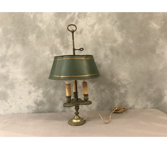 Lampe bronze bouillotte with 3 lights of period end 19 th